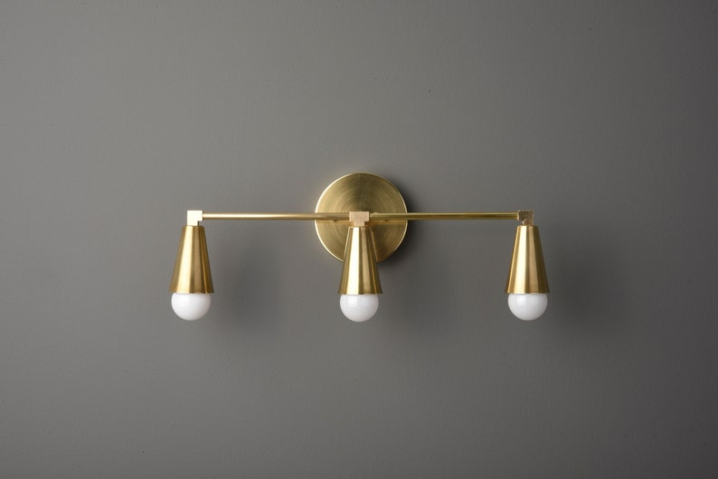 hot sale online a9a14 317b5 Mid Century Wall Sconce - Gold Wall Light - Modern - Industrial - Bathroom  Vanity - UL Listed [AURORA]