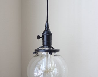 Pendant Lighting Black Socket - 6in. Clear Glass Globe - Cloth Wire - Plug In or Ceiling Canopy Mount - Edison Bulb Compatible