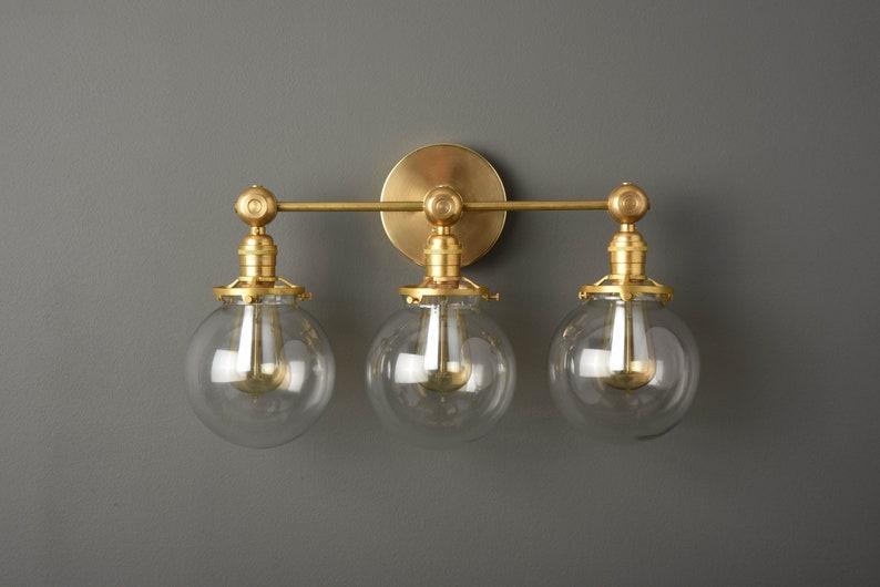 Applique globo industriale vanity oro luce metà secolo etsy