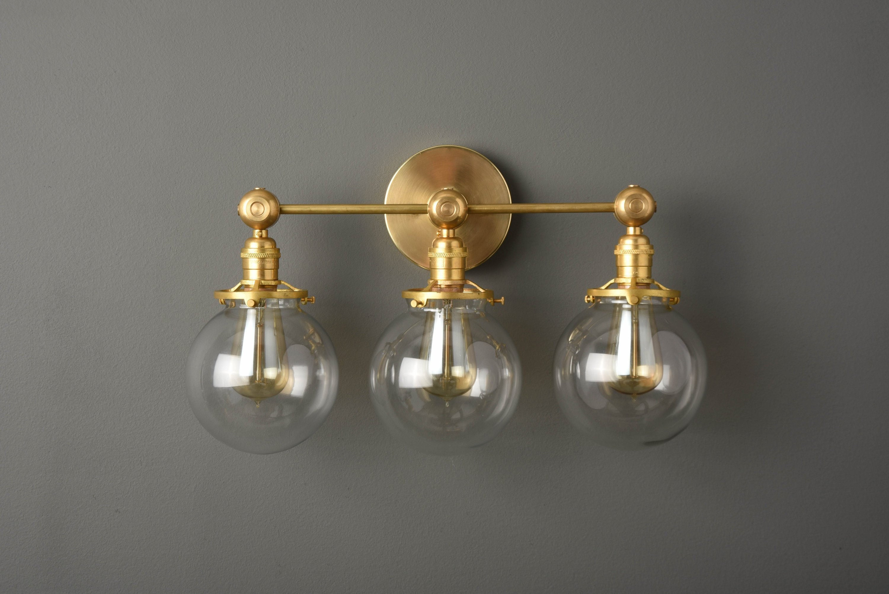 Industrial Globe Sconce Gold Vanity Light Mid Century Modern