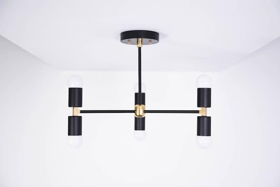 Hanging Modern Chandelier Lighting Pinwheel CHICAGO UL Listed Minimal Industrial Sputnik Black /& Brass Large Mid Century