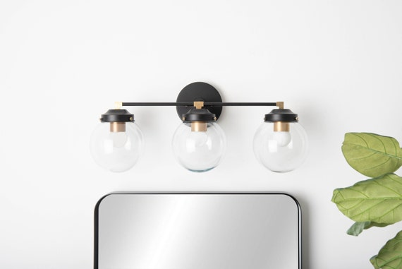 Bathroom Wall Sconce 3 Light Vanity Fixture Black Brass Etsy