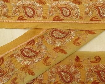Trim By The Yard Women Sari Border MIN-SW-VB17749A Tortilla Brown Used Fabric Trim Indian Vintage Sari Border Ribbon Dress Lace