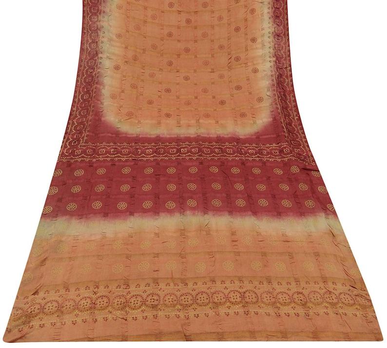 Indian Vintage Floral Bandhani Printed Khadi Silk Saree Brown Etsy