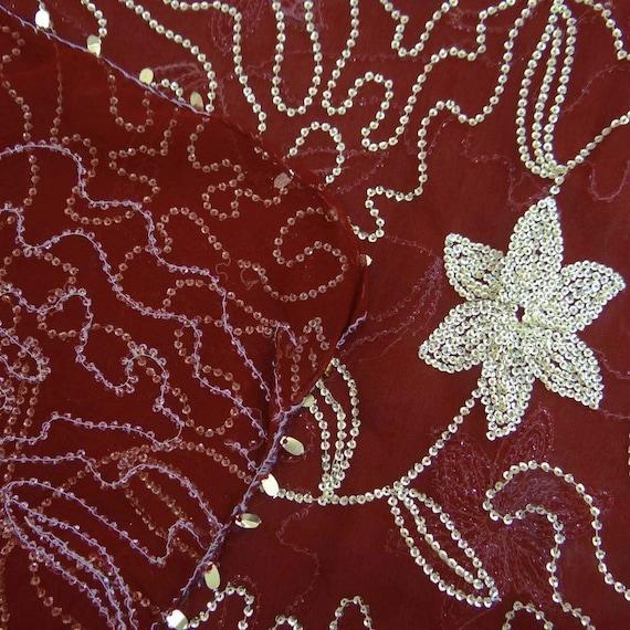 Vintage Dupatta écharpe longue longue écharpe indienne Decor main perlé tissu voile marron volé DP25847 627f9f