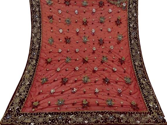 Vintage indiennes Dupatta créateur longue écharpe marron Net perles tissu voile marron écharpe volé VSK2046D 39985f