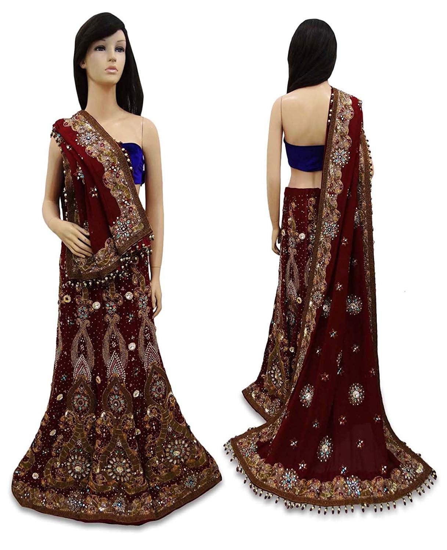 Livraison gratuite Vintage indien Lehenga Lehenga Lehenga créateur ensemble tissu perlé robe de mariée ethnique marron VSK2062 d62d55