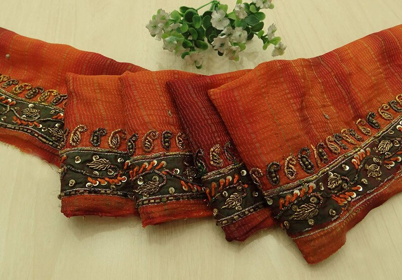 Crafts Linens & Textiles (pre-1930) Vintage Sari Border Antique Hand Beaded Indian Trim Sewing Orange Lace