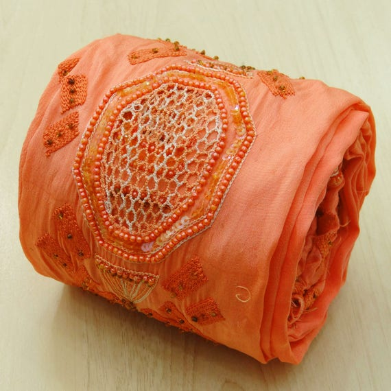Trim & Edging Good Vintage Sari Border Antique Hand Embroidered Indian Trim Ribbon Peach Lace Trims