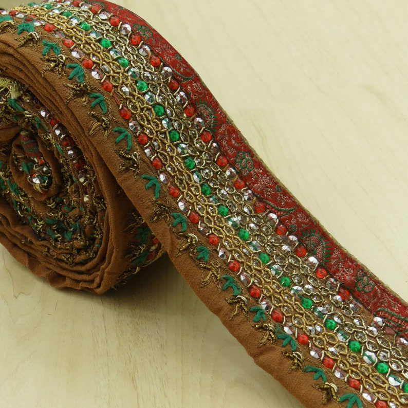 Just Vintage Sari Border Antique Hand Beaded Indian Trim Sewing Maroon Lace Easy To Use Trims