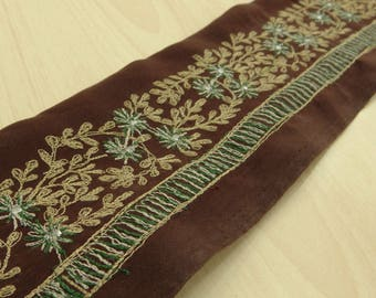 Free Shipping Embroidered Indian Vintage Recycled Border Brown Used Trim Sari Sewing 1YD Lace VB15218
