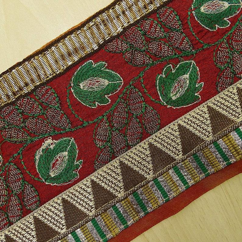 Ribbon Fabric Trim Sewing Used Sari Border Vintage Red Maroon Fabric Trim MIN-SW-VB18013A Trim By The Yard