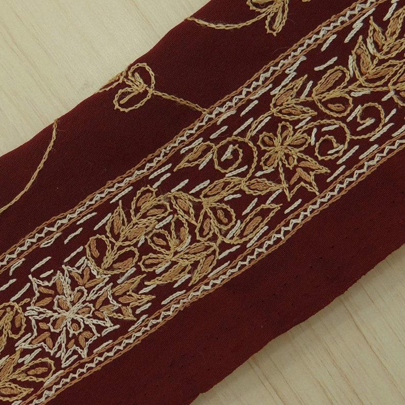 Indian Vintage Sari Border VB15020 Trim By The Yard Embroidered Maroon Sari Border Craft Sarong Fabric Trim Sewing Fabric Trim