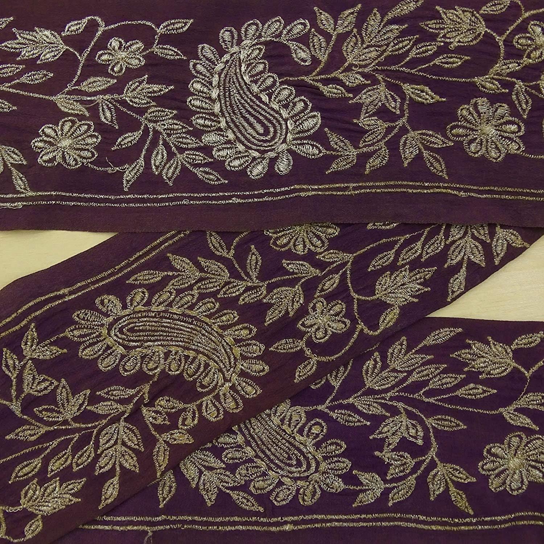 Antique Vintage Saree Border Indian Craft Trim Embroidered Cream Ribbon Lace