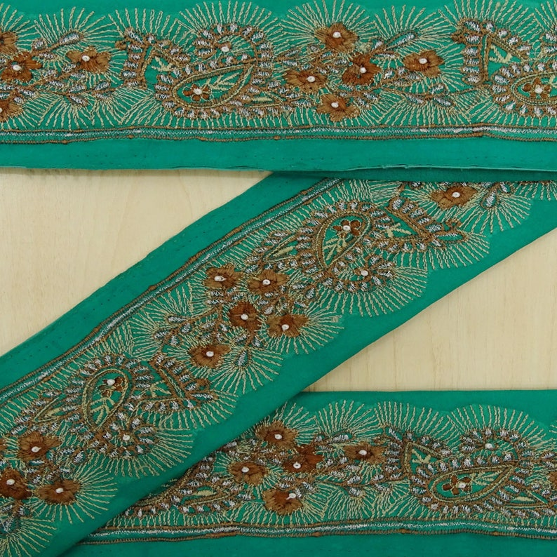Just Vintage Sari Border Antique Hand Beaded Indian Trim Sewing Maroon Lace Easy To Use Sewing