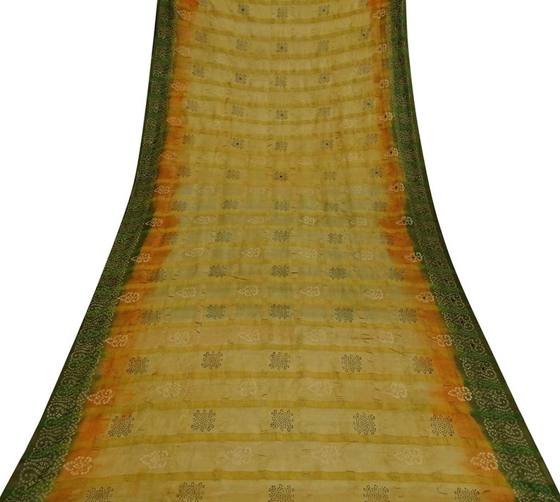 Vintage Saree Khadi Silk Bandhani Printed Sari Fabric 5yard Other Antique Fabric Linens & Textiles (pre-1930) Psk1442