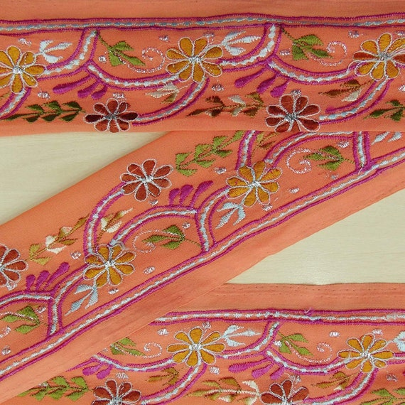 Vintage saree Border Embroidered Indian Recycled Sari Purple Sewing 1YD Trim