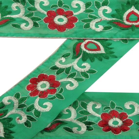 Vintage saree Border Indian Green Hand Beaded Sari Wrap 1YD Ribbon Used Sewing