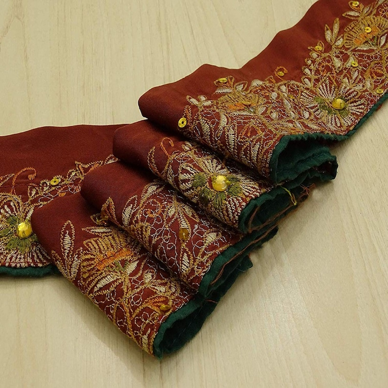 Trim By The Yard Wine Red Dress Lace Vintage Sari Border Indian Fabric Trim Embroidered Trim Ribbon Used Fabric Trim MIN-SW-VB17920A