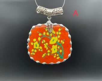 1 pc 1950' broken china pendant, hand painted floral scene: plum blossoms, lotus flower, peony  ,cut from a Japanese jar. Size in DSCPT