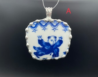 1 pc vintage broken china pendant, Chinese traditional painting of children playing in blue colors. 2 1/4x2 1/4 inch, Fun and lovely gift