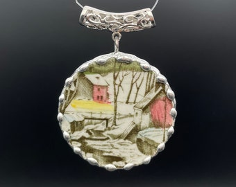 Vintage broken bone china pendant, snow scene with red houses, cut from Johnson Bros hand painted plate, 2 3/4 x 2 inch, lovely gift!
