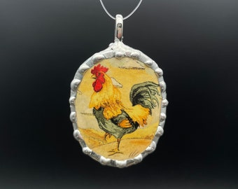 Lovely broken china rooster pendant, cut from a porcelain cup, 2 3/4 x 1 3/4 inch, vivid in detail. One of kind great gift!