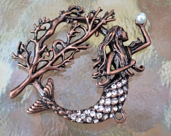 Mermaid Toggle Clasp, (T01C) Original Design: copper plated with rhinestones, Ocean lover must see!!Sample not included
