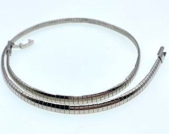 Silver plated domed omega chain choker necklace: 16 1/5 inch long, 3 or 5 mm width, wear by itself or with pendant, very pretty & elegant