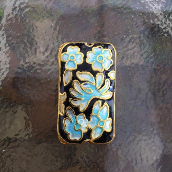 3 Piece Set Cloisonné Rectangle Beads Gold Plated Black Blue /& White `