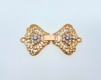 1 strand watch buckle /fold over clasp. (WB43) Silver/Gold plated metal with few rhinestones, Good for necklace or bracelet. New Arrival!
