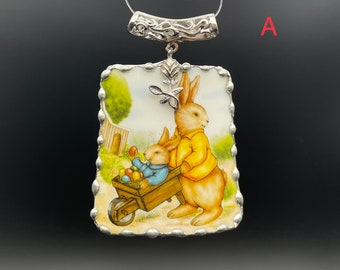 1 pc Vintage broken china pendant, hand painted cute bunny rabbit, cut from Yankee Candle cup. Unique gift. Sizes in description