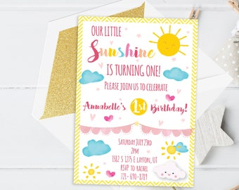 Little Sunshine invitation Printable - My only sunshine - Sunshine theme party - You are my sunshine - Sunshine party - Sunshine birthday