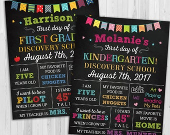 Back to School sign, First day of school sign, 1st day of school chalkboard, Back to School printable, kindergarten poster grade school sign