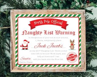 Santa Nice List Certificate - Christmas Printables - Naughty List -Kids Christmas Wish List - Santa Letter - Dear Santa - Instant Download