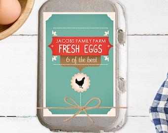 Modern Country Custom Egg Carton Labels - Farmers Market - Egg Carton Sticker - Digital