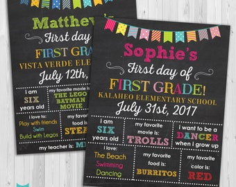 First day of First Grade sign, First day of school sign, First Grade poster Chalkboard poster, 1st day Back to School Sign Printable one