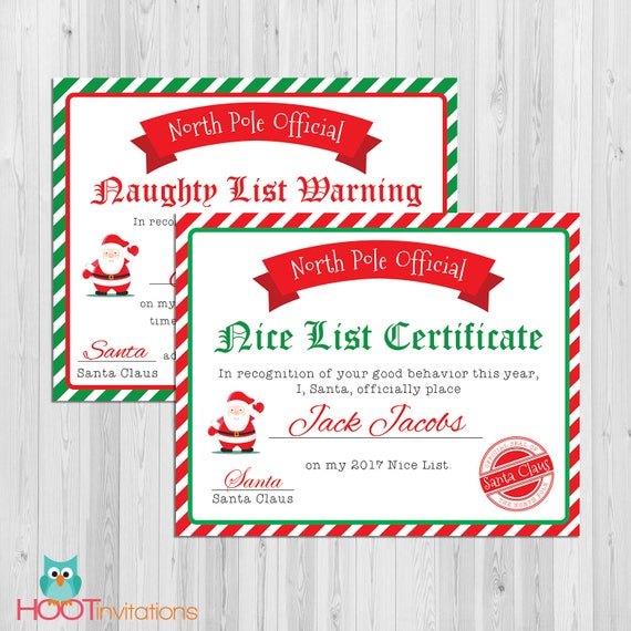santa nice list certificate christmas printables naughty etsy
