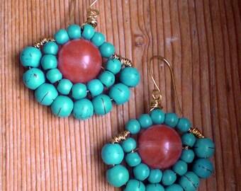 Hippie earrings, turquoise earrings, hippie jewelry, boho earrings, turquoise chandelier, turquoise accessories