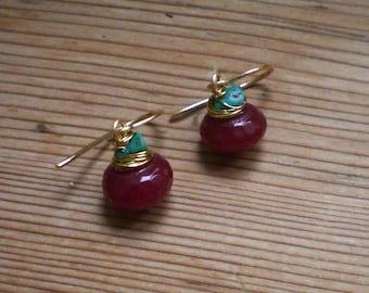 Ruby and Turquoise Earrings // Ruby jewelry // brass jewelry // brass earrings