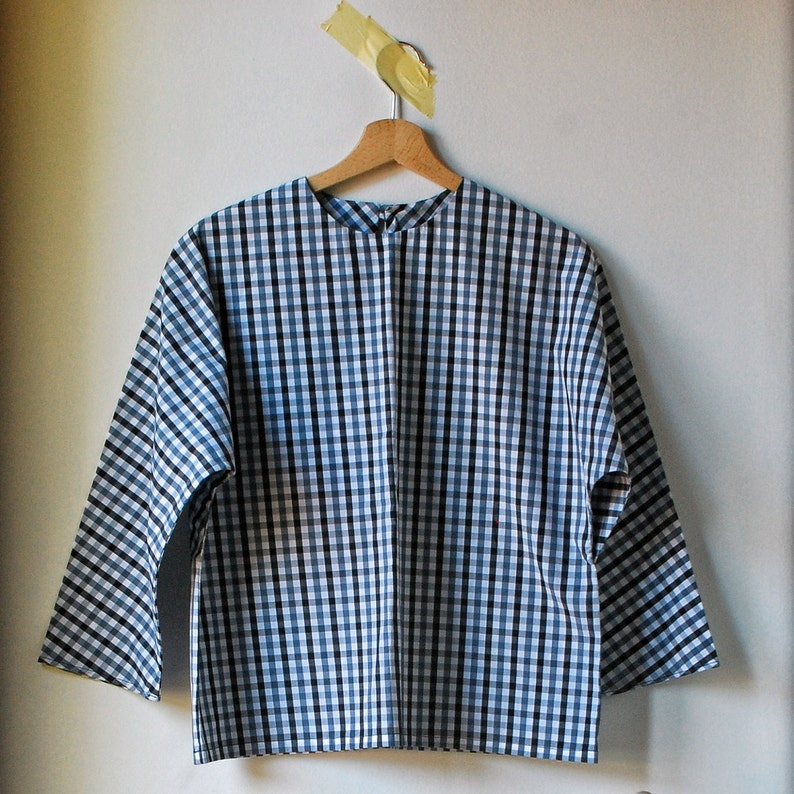uk availability f223e 88970 camicia a scacchi bianca e nera per donna, top con maniche a kimono,  camicia a sacchetto