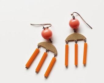 Catch of the Day Earrings  Fish Earrings  Choose Your Color  Statement Earrings  Colorful Statement  Striped Earrings  Brass Earrings