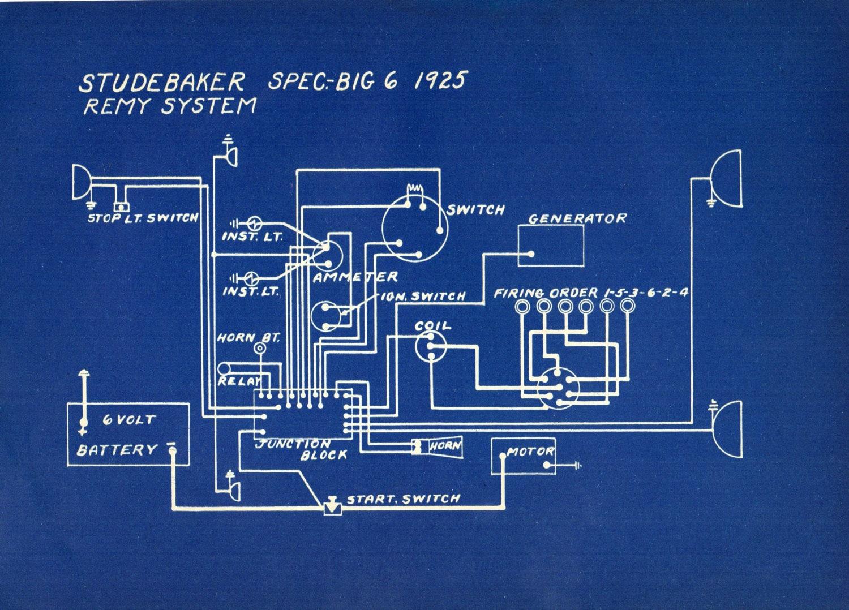 1927 Antique Blueprint Auto Car Studebaker Stutz Engineering Wiring ...