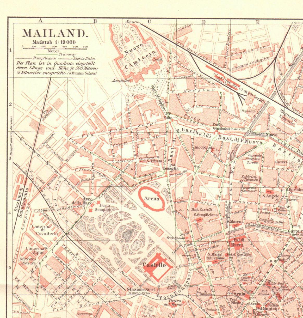 1904 Antique Milan Map, Vintage Milan Map, Antique Italy Map ...