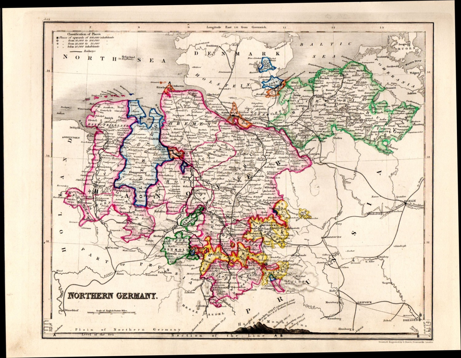 Map Of Central Germany.1853 Map Of Central Germany Antique Germany Map Hand Colored