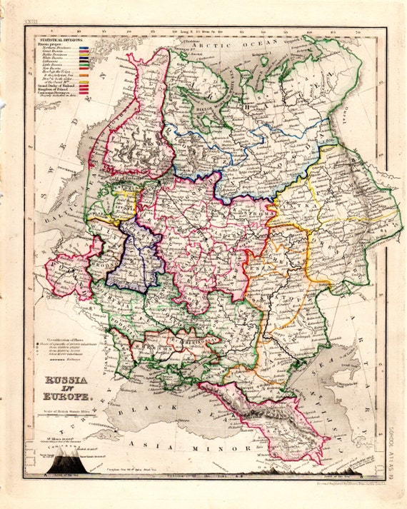 Russia On Europe Map.Russia In Europe Antique Map Hand Colored Geography Etsy