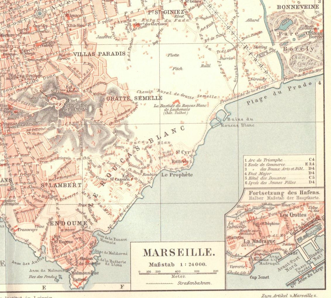 Marseille On Map Of France.1904 Antique Marseille Map Vintage Marseille Map Antique France