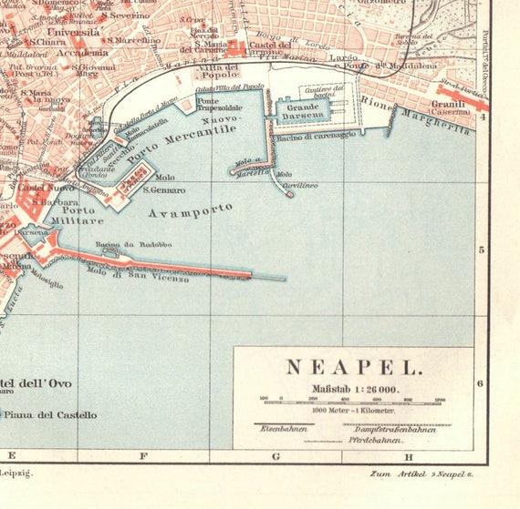 1904 Antique Naples Map Vintage Naples Map Antique Italy | Etsy