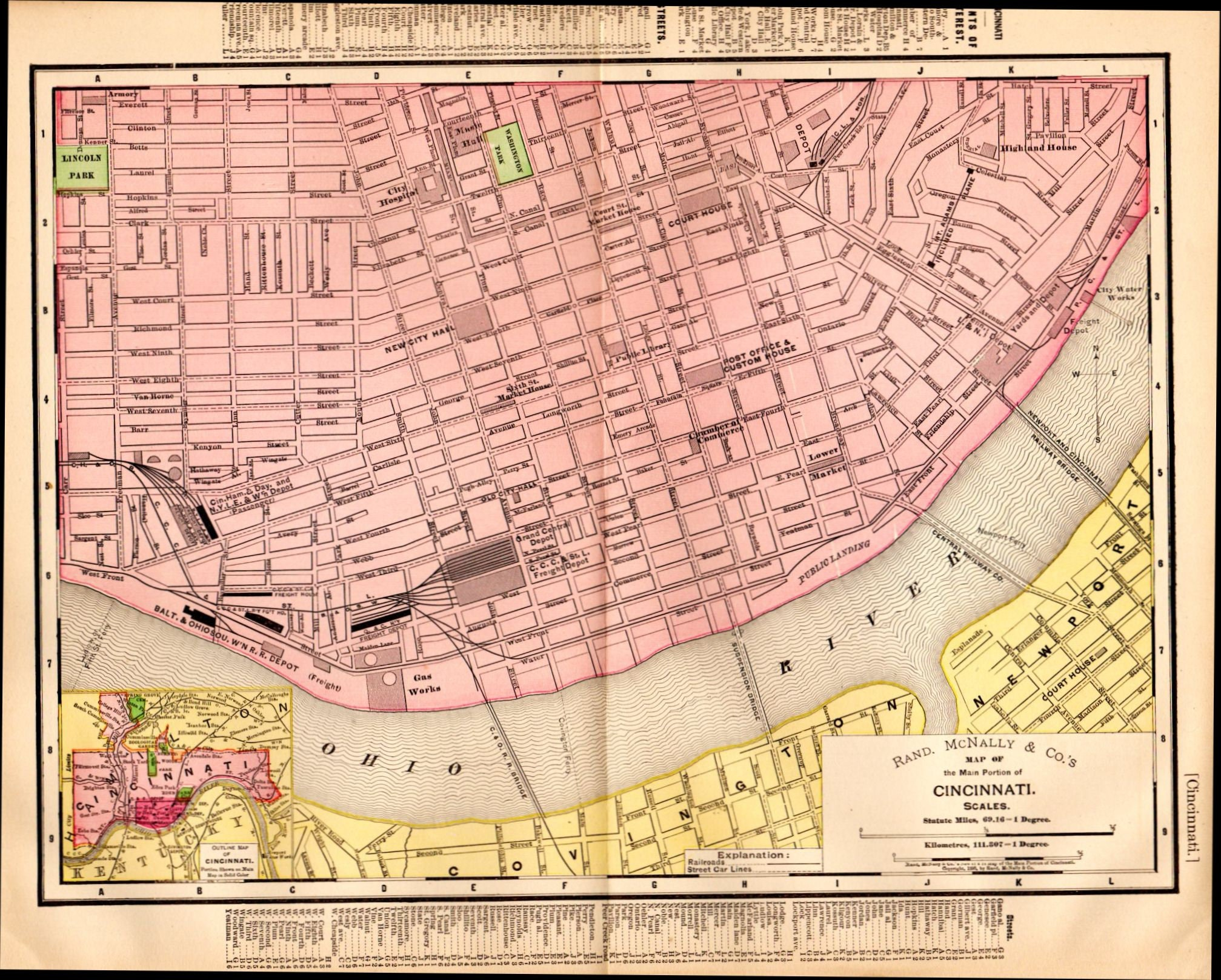 1897 Antique Cincinnati Map, Vintage Cincinnati Map, Map of ... on