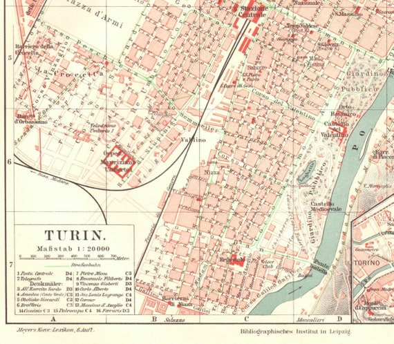 1904 Antique Turin Map Vintage Turin Map Antique Italy Map Etsy